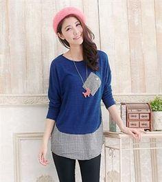 Japanese Fashion Plaid Pocket Blue Shirt