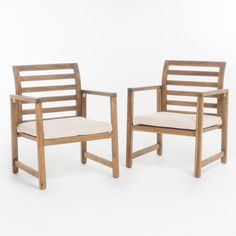 Noble House Cal Natural Stained Acacia Wood Club Chair Patio Deep Seating Set with Cream Cushions 6490 - The Home Depot Outdoor Armchair, Outdoor Lounge, Outdoor Chairs, Outdoor Furniture, Outdoor Living, Outdoor Spaces, Wood Patio Chairs, Backyard Furniture, Modern Armchair