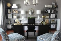 love this gray color on the wall and the white lamps on the buffet