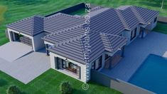 4 Bedroom House Plan - My Building Plans South Africa Big Modern Houses, Small Modern House Plans, Contemporary House Plans, 6 Bedroom House Plans, Basement House Plans, Family House Plans, Bungalow Haus Design, Bungalow House Plans, House Design