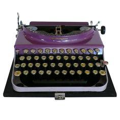 Fantastic Art Deco Original 1927 Purple Remington Typewriter