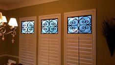 Decorative Faux Wrought Iron shutter insert / covering design, enhances the look of any custom interior shutter. Shutter Designs, Beautiful Compliments, Iron Windows, Interior Shutters, Window Coverings, Wrought Iron, Home Interior Design, Commercial