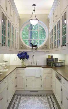 narrow kitchen with beautiful window