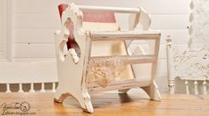 Wooden Magazine Rack  Upcycled Cottage White by KnickofTime, $28.00