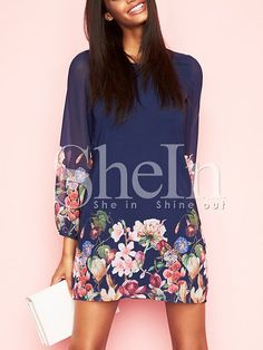 Dark Blue Lantern Sleeve Floral Shift Dress