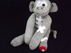 Handmade sock monkey : Zombie Michon ~ The original handmade plush animal made by Chiki Monkeys by ChikiMonkeys on Etsy