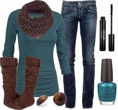 turquoise and brown fall style <3