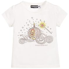 Girls ivory short-sleeved Paesaggino t-shirt with the designer's logo in shiny pink diamanté studs. Italian made in a soft stretchy cotton jersey, it has a pink princess carriage printed on the front, with a magic wand and silver diamanté embellishment, for a little extra sparkle.