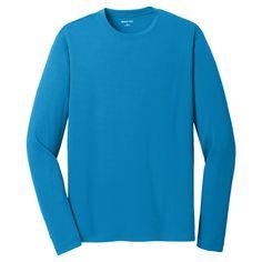 Sport-Tek Men's Pond Blue PosiCharge RacerMesh Long Sleeve Tee