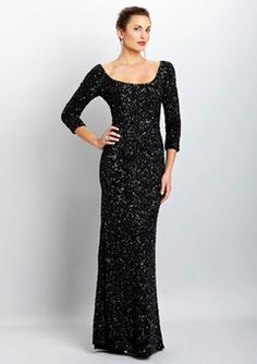 theia black three-quarter sleeve sequen gown