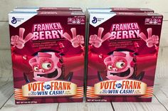4 Boxes FRANKENBERRY Monster Cereal Strawberry Frosted W/ Marshmallows 9.6 Oz #GeneralMills