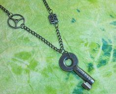 Steampunk Journey Key & Gear Metal Necklace by Wimzy on Etsy, $15.00