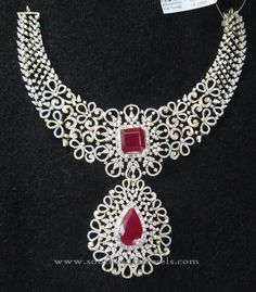 Indian Bridal Diamond Necklace Set - Jewelry World Bridal Necklace Set, Diamond Necklace Set, Diamond Cross Necklaces, Ruby Necklace, Diamond Jewellery, Jewellery Box, Jewellery Sketches, Diamond Choker, Bespoke Jewellery