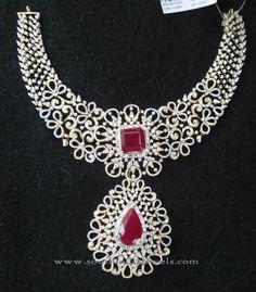 Indian Diamond Necklace Designs, Indian Bridal Diamond Necklace Models.