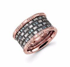 14k Rose Gold Blue Diamond Ring