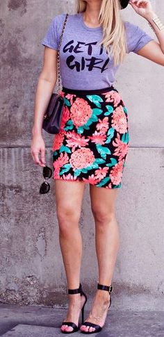 Mix a colorful, fitted skirt with a fun tshirt!