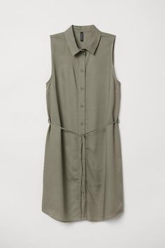 Sleeveless shirt dress in woven viscose fabric with a collar buttons at front and removable tie belt at waist. Khaki Shirt Dress, Sleeveless Shirt, Short Dresses, Dresses For Work, Viscose Fabric, Women's Fashion Dresses, Green Dress, Fashion Online, Black Women