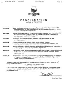 DUNDEE, OR - Mayoral proclamation recognizing Diaper Need Awareness Week (Sep. 26-Oct. 2, 2016) #DiaperNeed Diaperneed.org