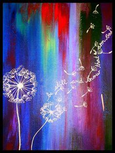Multicolored Acrylic Dandelion Painting