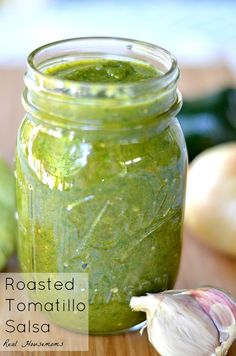 Roasted Tomatillo Salsa | Real Housemoms | Roasting the tomatillos and peppers first makes the flavor of this salsa unbelievable!