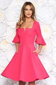Rosa StarShinerS office midi cloche dress soft fabric with ruffled sleeves, flaring cut, 3/4 sleeves, soft fabric, Ruffled sleeves