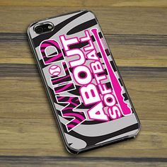 Softball iPhone/Galaxy Case Wild About Softball - This customizable protective case is the perfect accessory for any softball players phone.  This great softball smartphone case fits the iPhone 4, iPhone 4S, iPhone 5, and Galaxy.