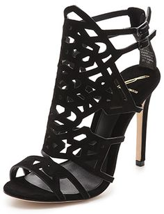 B Brian Atwood  Laplata Lasercut High Heel Sandals in black suede