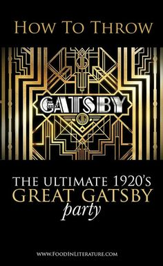 Throw the ultimate 1920's Great Gatsby party. We've done all the research for you, providing you with links to the recipes you need for all the drinks and foods mentioned in the book, so you can get on quickly and easily with throwing your best party ever.