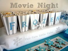 Pretty popcorn boxes at a Frozen girl birthday party!  See more party ideas at CatchMyParty.com! Frozen Movie Party, Frozen Bday Party, Disney Frozen Birthday, Movie Night Party, Frozen Disney, Movie Nights, Party Time, Winter Wonderland Party, Birthday Party Themes