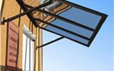 The Romanza Awning is constructed from durable polycarbonate, thereby shielding windows and doors from rain and weather, yet permitting penetration of light.