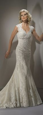 2012 Maggie Sottero Bridal - Ivory & Light Gold Scalloped Lace Open Back Cap Sleeve Bernadette Wedding Gown - 0 - 28