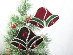 Stained Glass Christmas Ornaments  by LakeSideStainedGlass on Etsy, $17.00