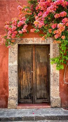 Porta com Bougainvillea em Guanajuato, México. Fotografia: Josh Trefethen no Fl. Cool Doors, The Doors, Unique Doors, Windows And Doors, Entry Doors, Front Doors, Sliding Doors, Bougainvillea, Closed Doors