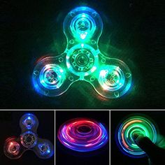 Product Description Package include:1 x LED Light Crystal Fidget Spinner Toy Material: High quality Plastic Size:7.5 x 7.5 x1.5cm Weight:31g...