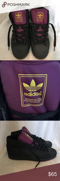 Adidas Black 60th Anniversary Sneakers They are dusty and a little dirty. Will need to be cleaned. Part of the 60th anniversary collection. Size 11.5 — Black sneakers with purple and yellow (pictured). Open to all reasonable offers so please make an offer thru the offer button! adidas Shoes Sneakers