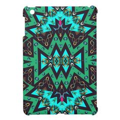Teal Blue Pink Gold Tones Girly Patterned Cases iPad Mini Covers