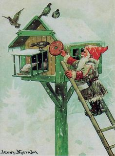 "by JENNY NYSTROM  ""Tomte med fågel  Tomte with birds"