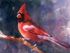 Just finished this watercolor painting of a cardinal tonight! I also videoed the entire process of painting it and will be putting it on my teaching blog.  Email me at rachel 6 parker at gmail dot com if you're interested in joining in on the lessons.  I've got several other paintings that I've filmed in their entirety, complete with painting explanations.