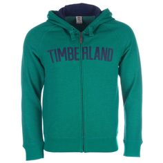 Timberland Green Mens Brown River Zip Hoody via Polyvore featuring men's fashion, men's clothing and men's hoodies