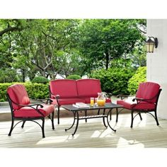 Patio Set 4 Piece Pool Deck Conversation Cast Outdoor Chair Table Love Seat - Chairs
