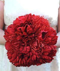 red bridal bouquet. #tulips #mums #ranunculus