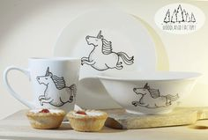 Unicorn 3-set: mug+bowl+plate - hand illustrated quirky animal dish letters funny rude pony cute lunch hipster cartoon text magic rainbow by WooodlandFactory on Etsy