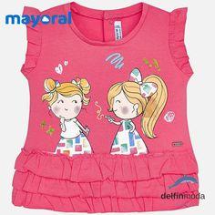 b07cdb4f7 Camiseta para bebe niña MAYORAL sin mangas muñecas fucsia Camisetas Bebe