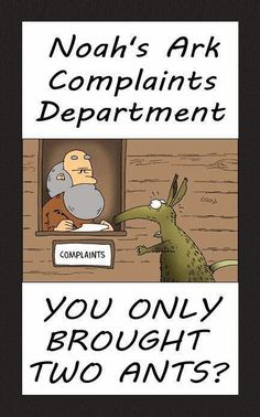 Funny Noah's Ark Complaints Department - You only brought two ants? Christian Comics, Christian Cartoons, Christian Jokes, Funny Shit, Hilarious, Jw Funny, Funny Stuff, Funny Diet Quotes, Funny Memes