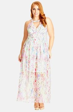 City Chic 'Dreamy Floral' Keyhole Detail Maxi Dress (Plus Size) available at #Nordstrom