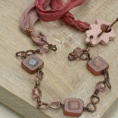 Morning Blush Ceramic Leaf, Czech Bead & Sari Silk Copper Necklace £17.00