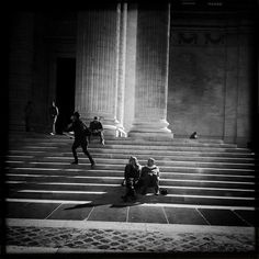 Different lives on the stairs - Pt.3 by Tenebrogg, via Flickr | street scene people + architecture stairs + black white grey + iphoneography