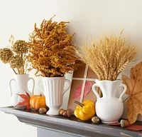 28 Fall Mantel Ideas | Midwest Living Wheat Decorations, Fall Mantel Decorations, Mantel Ideas, Mantels Decor, Fall Mantels, Thanksgiving Decorations, Fall Flowers, Dried Flowers, Autumn Display