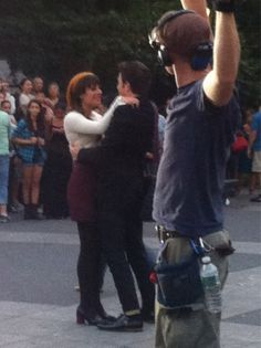 Lea Michele + Chris Colfer on the set of 'Glee' in Washington Square Park.