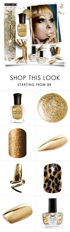"""Gold Finger"" by luckied99 ❤ liked on Polyvore featuring beauty, Deborah Lippmann, Butter London, H&H, Bijules and Ciaté"